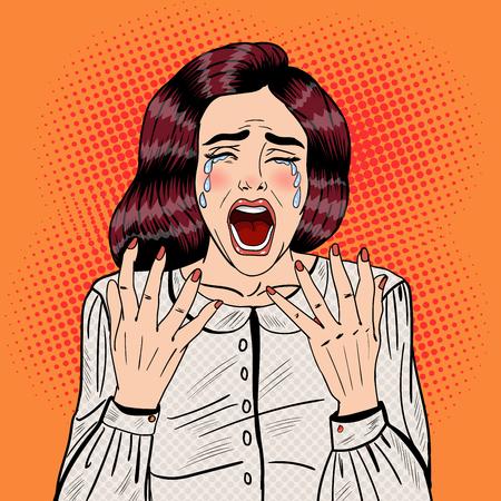 Pop Art Depressed Crying Woman Screaming. Vector illustration