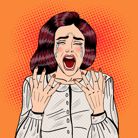 Pop Art Depressed Crying Woman Screaming. Vector illustration