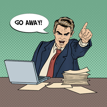 dismissal: Angry Businessman Boss Screaming and Pointing Finger Out. Pop Art Vector illustration