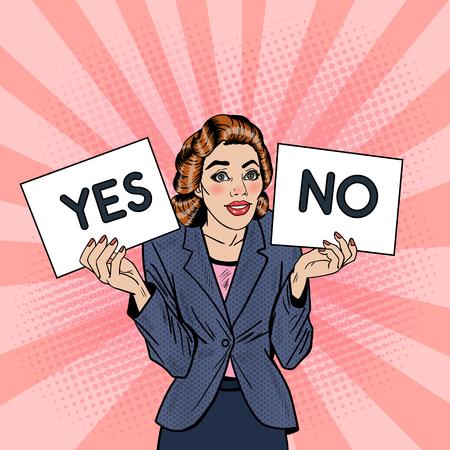 Pop-Art-Business-Frau, die versucht Entscheidung zwischen Ja oder Nein. Vektor-Illustration zu machen Standard-Bild - 62683331
