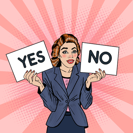 Pop Art Business Woman Trying to make Decision Between Yes or No. Vector illustration Ilustração