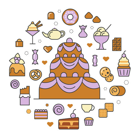 Desserts and Sweets Food Line Art Thin Vector Icons Set with Cake and Cupcake Illustration