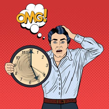 Stressed Pop Art Business Man Holding Big Clock on Work Deadline. Vector illustration