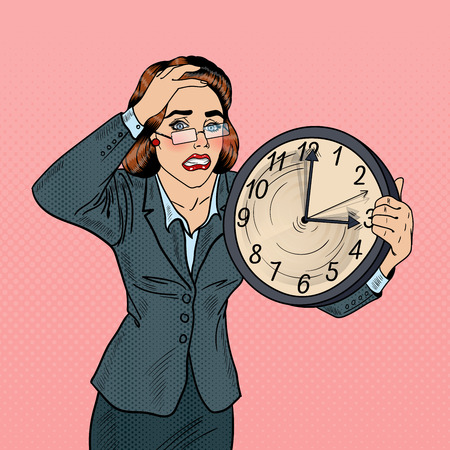 Stressed Pop Art Business Woman with Big Clock on Deadline Work. Vector illustration