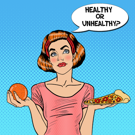 choosing: Young Fit Pop Art Woman Choosing Between Healthy and Unhealthy Food - Orange and Pizza. Vector illustration Illustration