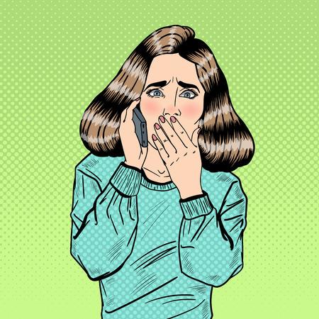 動揺したストレスポップアートの女性は、携帯電話で話しています。ベクトルイラスト