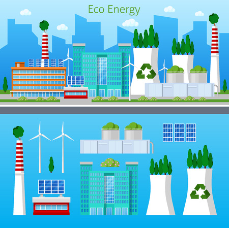 plant tree: Eco Factory Green Energy Cityscape with Solar Battery. Vector illustration Illustration