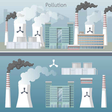 polluted cities: Energy Industry Air Pollution Cityscape. Vector illustration Illustration