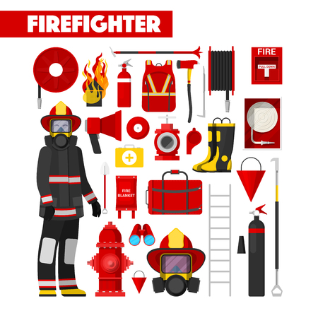 brigade: Profession Firefighter Vector Icons Set with Firefighters Equipment