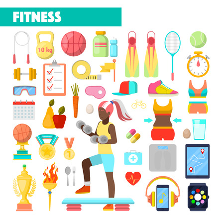 woman exercising: Fitness Trainer Healthy Lifestyle Vector Icons with Woman Exercising Illustration