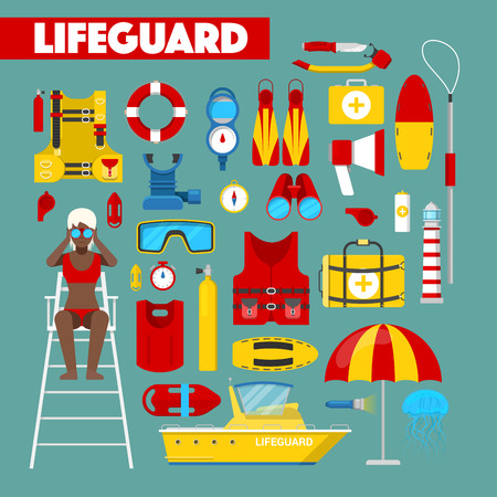職業ライフガード水救助安全ベクトル アイコン