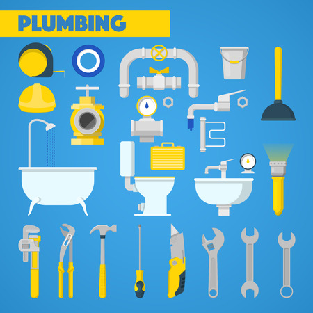 plumbing tools: Plumbing Tools Set and Bathroom Elements. Vector Icons Illustration