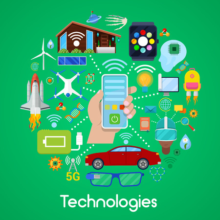 Modern Technologies Vector Icons Set with Smart House and Quadrocopter Illustration
