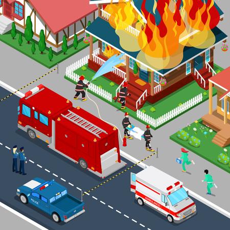 Brandweerlieden blussen van een brand in huis Isometrische City. Brandweerman helpt Verwonde Vrouw. Vector 3d Flat illustratie