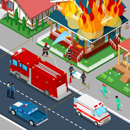 extinguish: Firefighters Extinguish a Fire in House Isometric City. Fireman Helps Injured Woman. Vector 3d Flat illustration Illustration