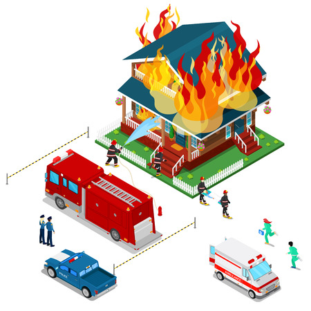 Firefighters Extinguish a Fire in House Isometric City. Fireman Helps Injured Woman. Vector 3d Flat illustration Illustration
