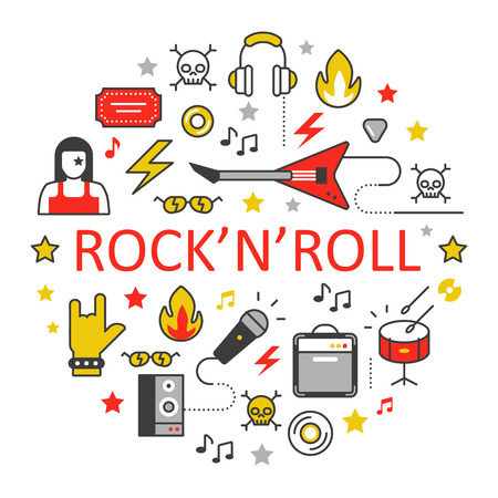 Rock'n'roll Line Art Thin Vector Icons Set with Musical Instruments