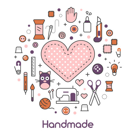 Hand Made Sewing Crafting Line Art Thin Vector Icons Set with Tools and Accessories