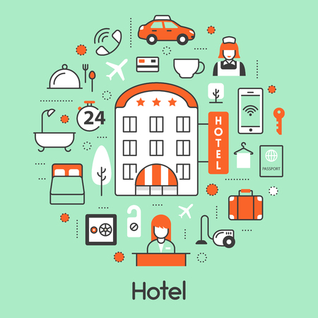 accomodation: Hotel Accomodation Thin Line Vector Icons Set with Reception and Services Illustration
