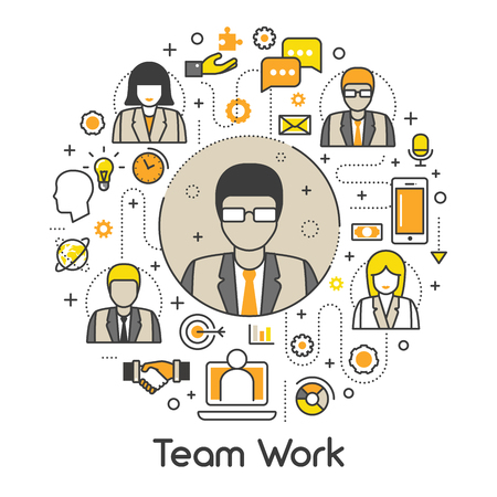 teamworking: Business Team Work Line Art Thin Vector Icons Set with People