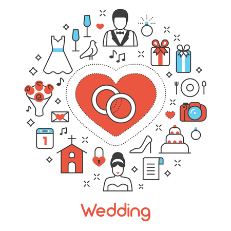 Wedding Party Thin Line Vector Icons Set with Bride and Groom Illustration