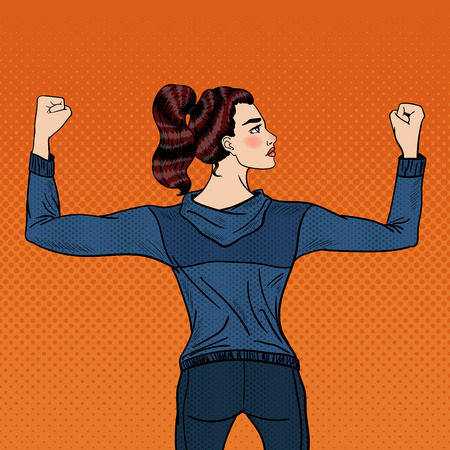 showing muscles: Pop Art Confident Athletic Woman Showing Muscles. Vector illustration