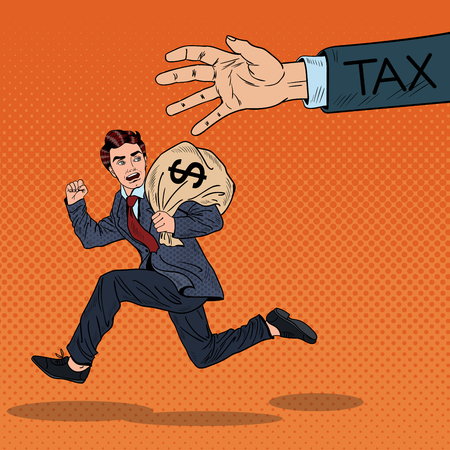 ポップアートのビジネスマンは、お金の袋と税金をエスケープします。ベクトル図  イラスト・ベクター素材