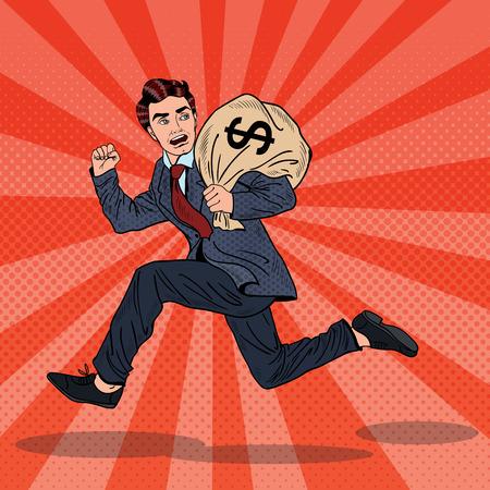 Pop-Art-Geschäftsmann Escapes Steuern mit Geldsack. Vektor-Illustration Vektorgrafik