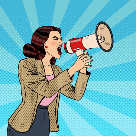 Pop Art Business Woman Shouting in Megaphone. Vector illustration