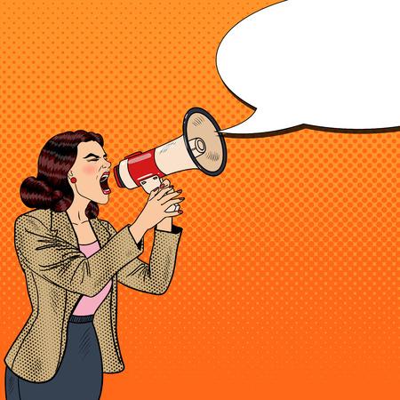 Pop Art Business Woman Shouting in Megaphone. Vector illustration Vettoriali