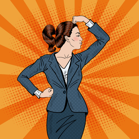 showing muscles: Pop Art Confident Business Woman Showing Muscles. Vector illustration