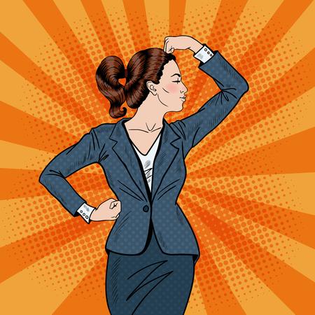 Pop Art Vertrouwen Zaken Vrouw Die Spieren. vector illustratie Stock Illustratie