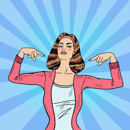 Pop-Art Zuversichtlich unabhängige junge Frau. Vektor-Illustration