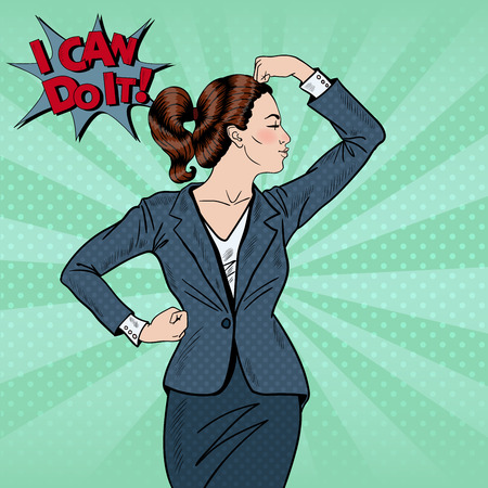 Pop Art Confident Business Woman Showing Muscles. Vector illustration