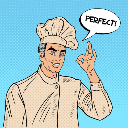 gesturing: Professional Chef Cook Gesturing OK. Pop Art Vector illustration