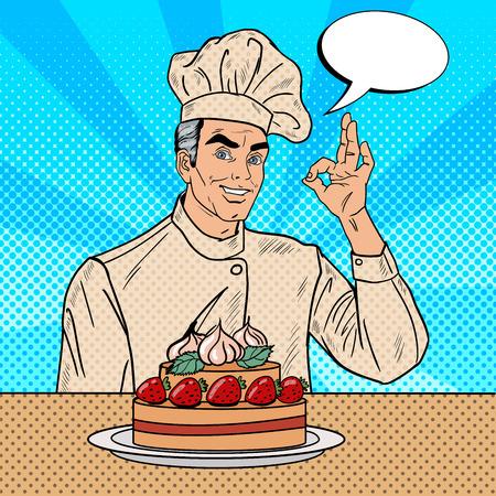 professional chef: Professional Chef Cook Gesturing OK. Pop Art Vector illustration