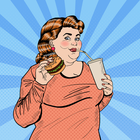 eating fast food: Pop Art Fat Woman Eating Fast Food and Drinking Soda. Vector illustration Illustration