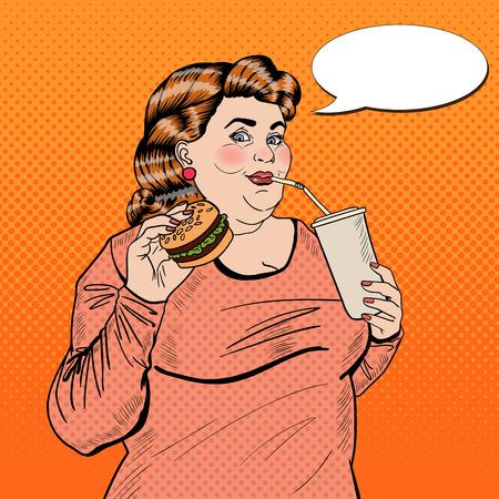 Pop Art Fat Woman Eating Fast Food and Drinking Soda. Vector illustration Иллюстрация