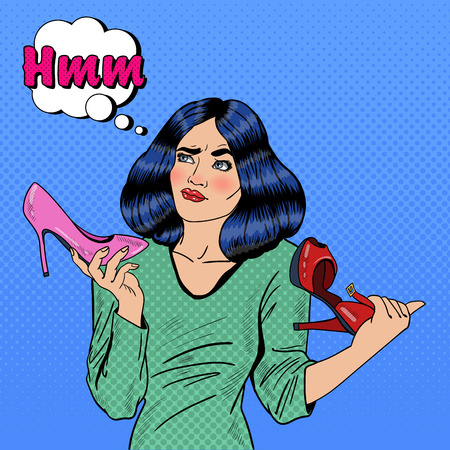 choise: Young Pretty Pop Art Woman Making Choise on Shopping Between Shoes. Vector illustration Illustration