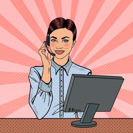 Pop Art Woman Operator Consulting Client on Hotline. Vector illustration Illustration