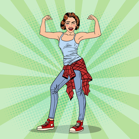 Young Pretty Pop Art Woman Winks and Showing Muscles. Vector illustration