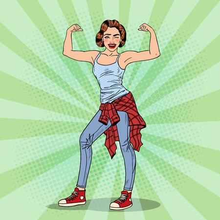 Jolie jeune femme Pop Art Winks et Affichage Muscles. Vector illustration Illustration