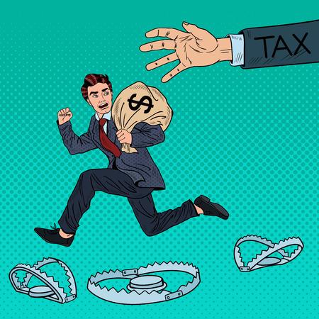 Pop-Art-Geschäftsmann Escapes Steuern mit Geldsack. Vektor-Illustration