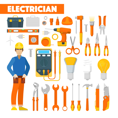 Profession Electrician Icons Set with Voltmeter and Tools. Vector illustration Illustration