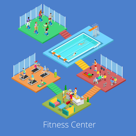 gym room: Isometric Gym Fitness Club Sport Center Interior with Cardio Room, Gym and Water Pool. Vector illustration Illustration