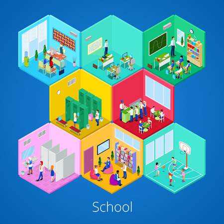 Isometric School Interior with Lecture Hall, Library, Dining Room and Classroom. Vector illustration