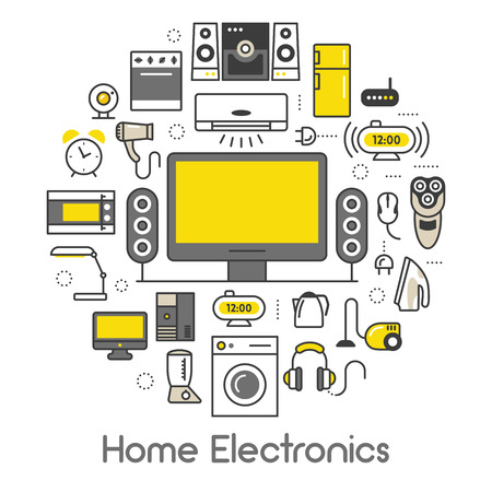 electronic device: Home Electronics Appliances Thin Line Vector Icons Set with TV set, Refrigerator and Coffee Maker Illustration