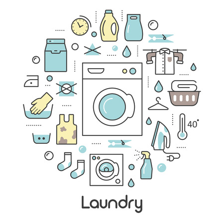 laundry line: Laundry Service Thin Line Icons Set with Laundrette Elements