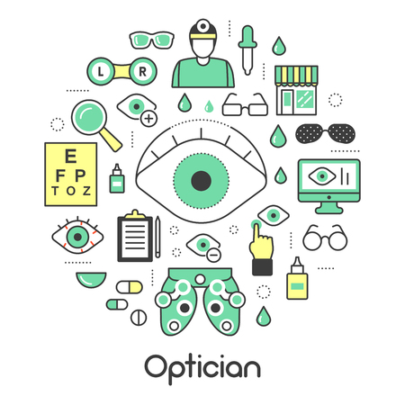 Optician Thin Line Vector Icons Set with Optometry Technology and Eyeglasses Vector Illustration