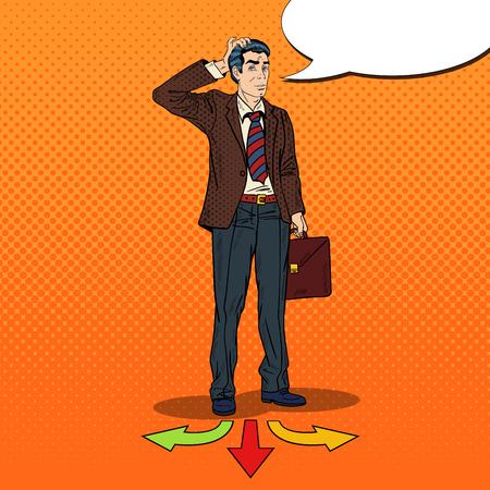 choosing: Pop Art Businessman Choosing the Way on Crossroads. Vector illustration